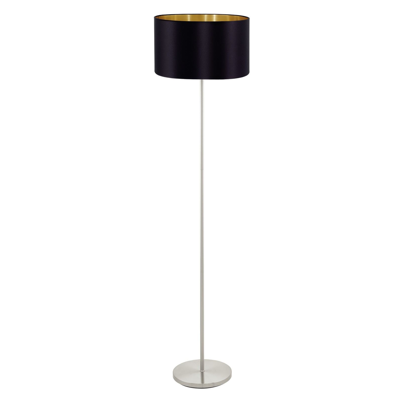 Maserlo Steel Satin Nickel Floor Lamp 1 Light With Black-Gold Shade