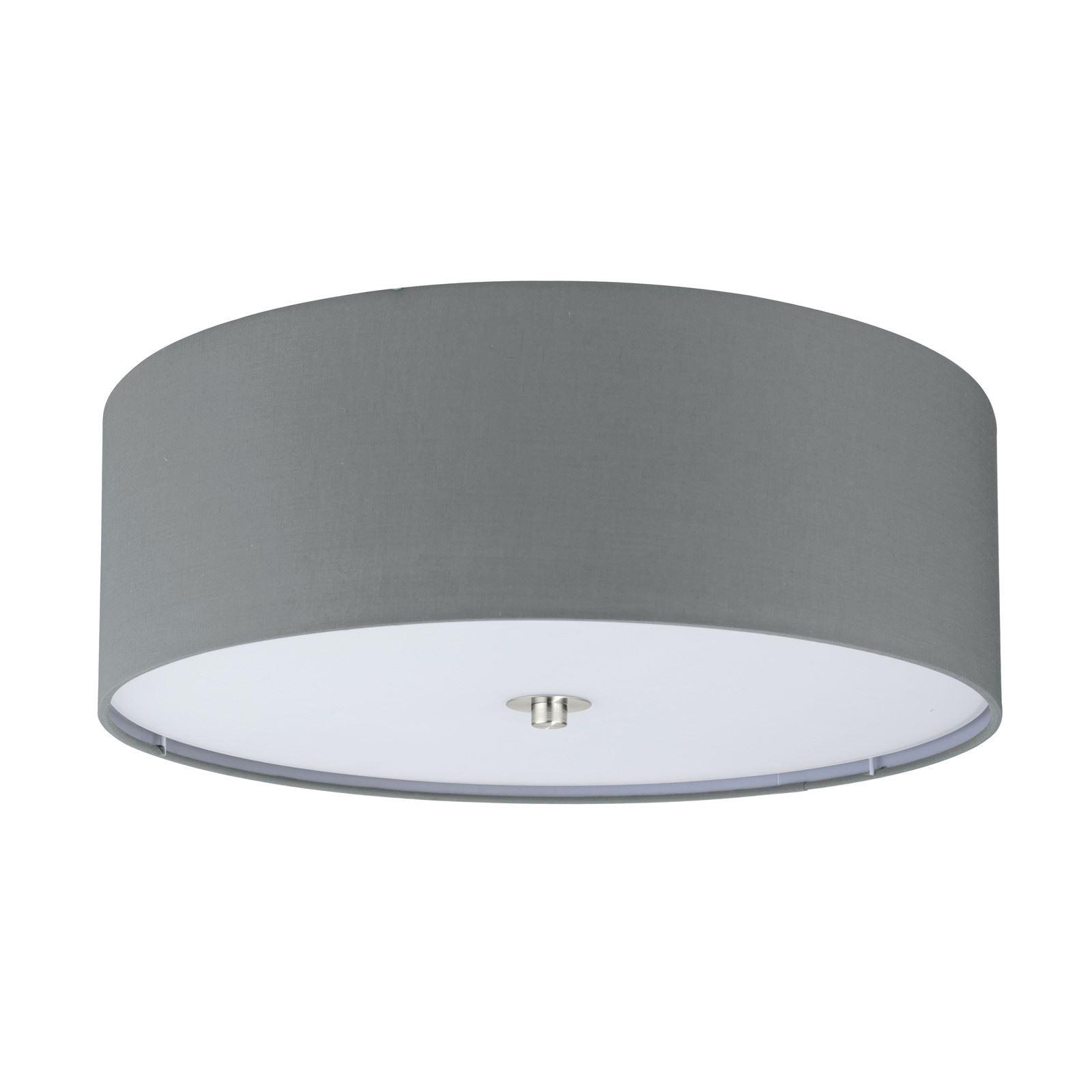 PASTERI Steel Ceiling 3 Light Satin Nickel Fabric Glass Grey Shade