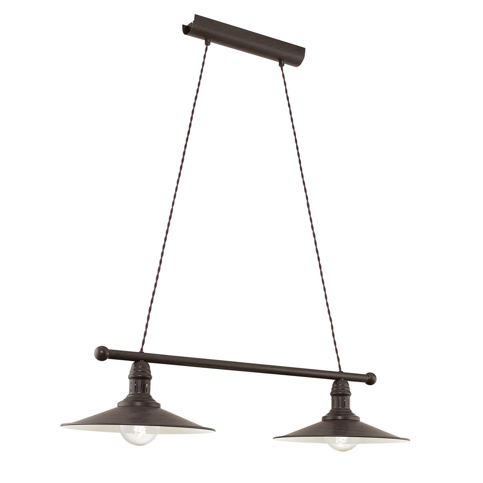 Stockbury Hanging Light 2 Light E27 Antique Brown Beige