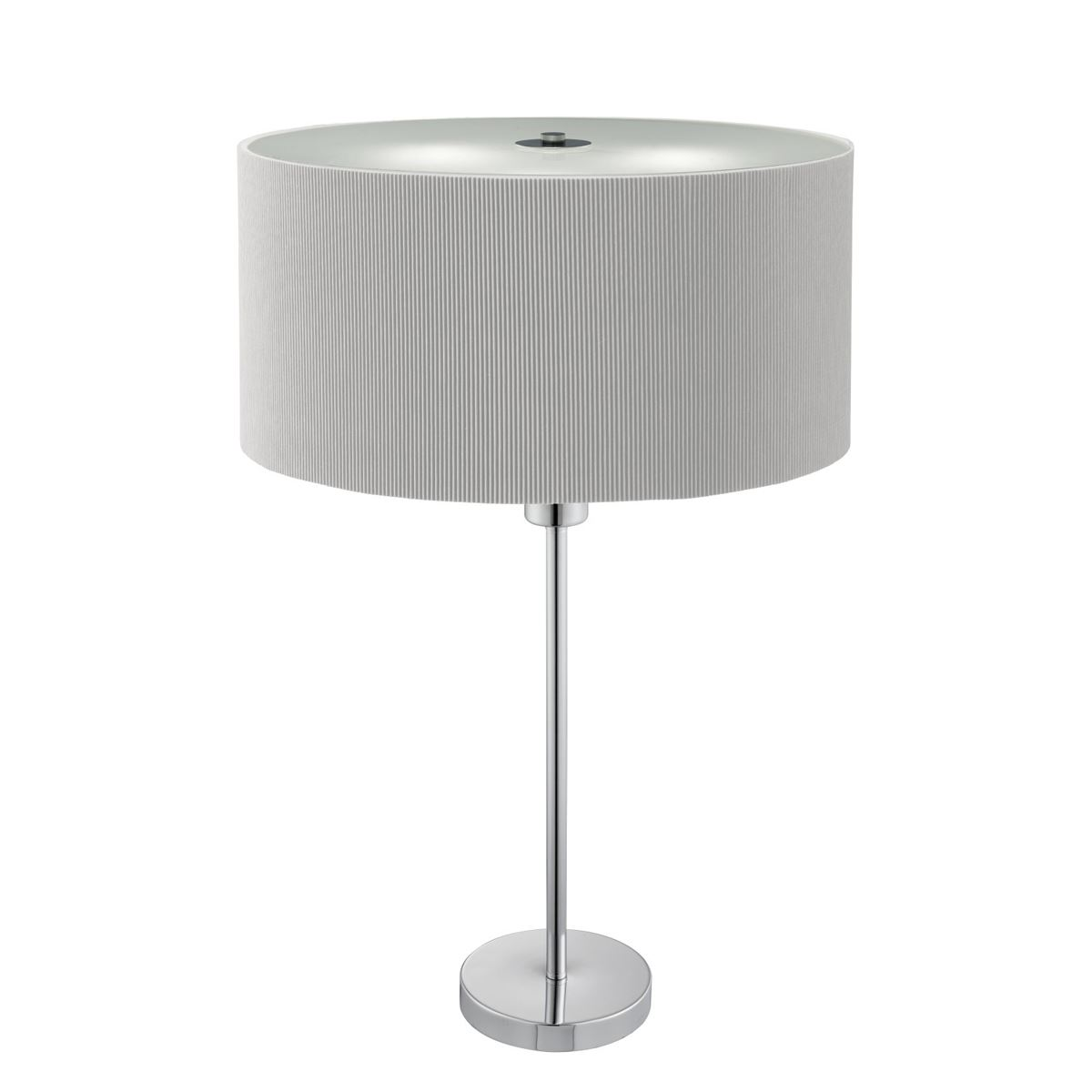2 Light Table Lamp Frosted Glass Diffuser Silver Pleated Shade