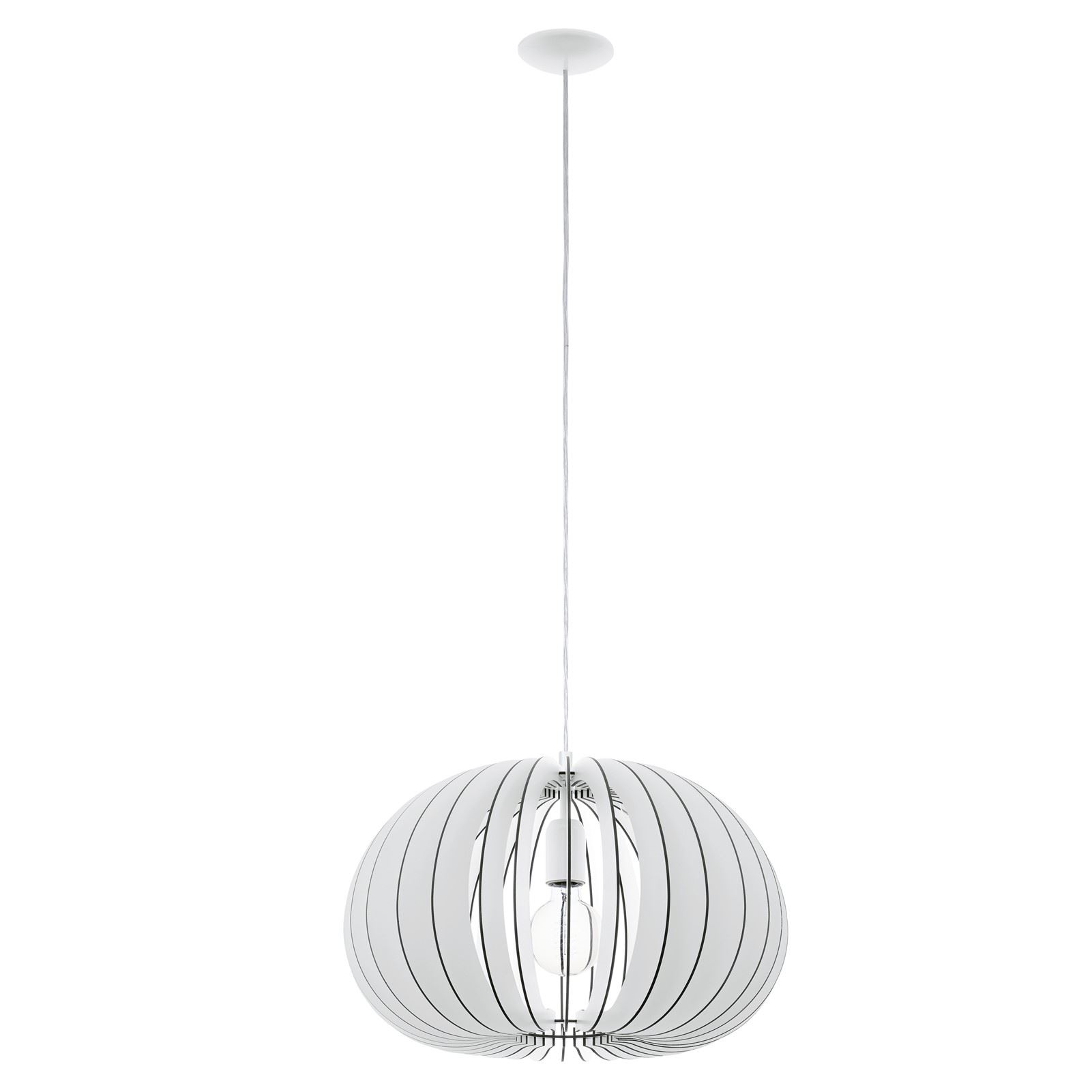 Cossano 1 Hanging Pendant Light E27 Dia 450mm Wood White Shade