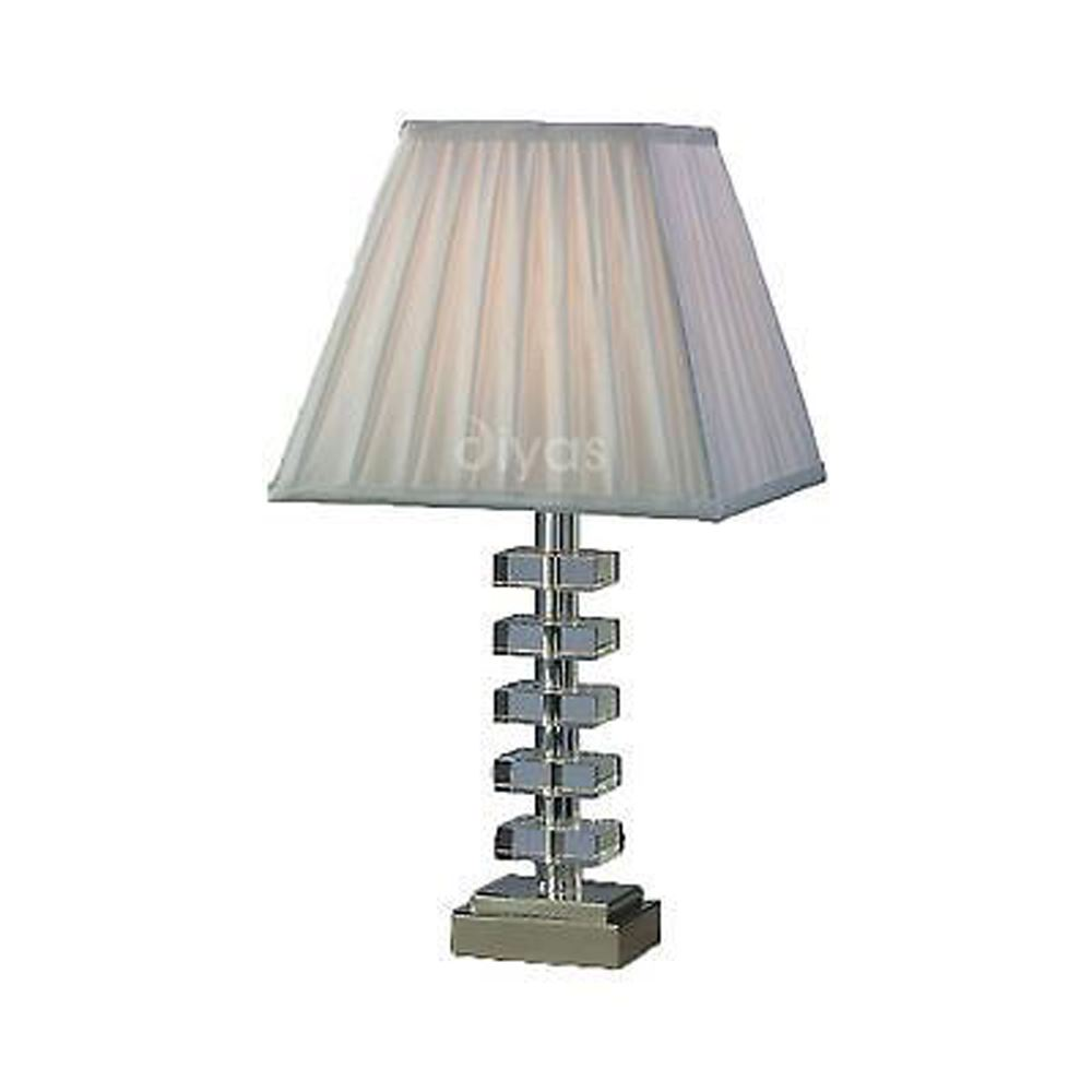 Designer Table Lamp Crystal Without Shade 1 Light Silver Finish