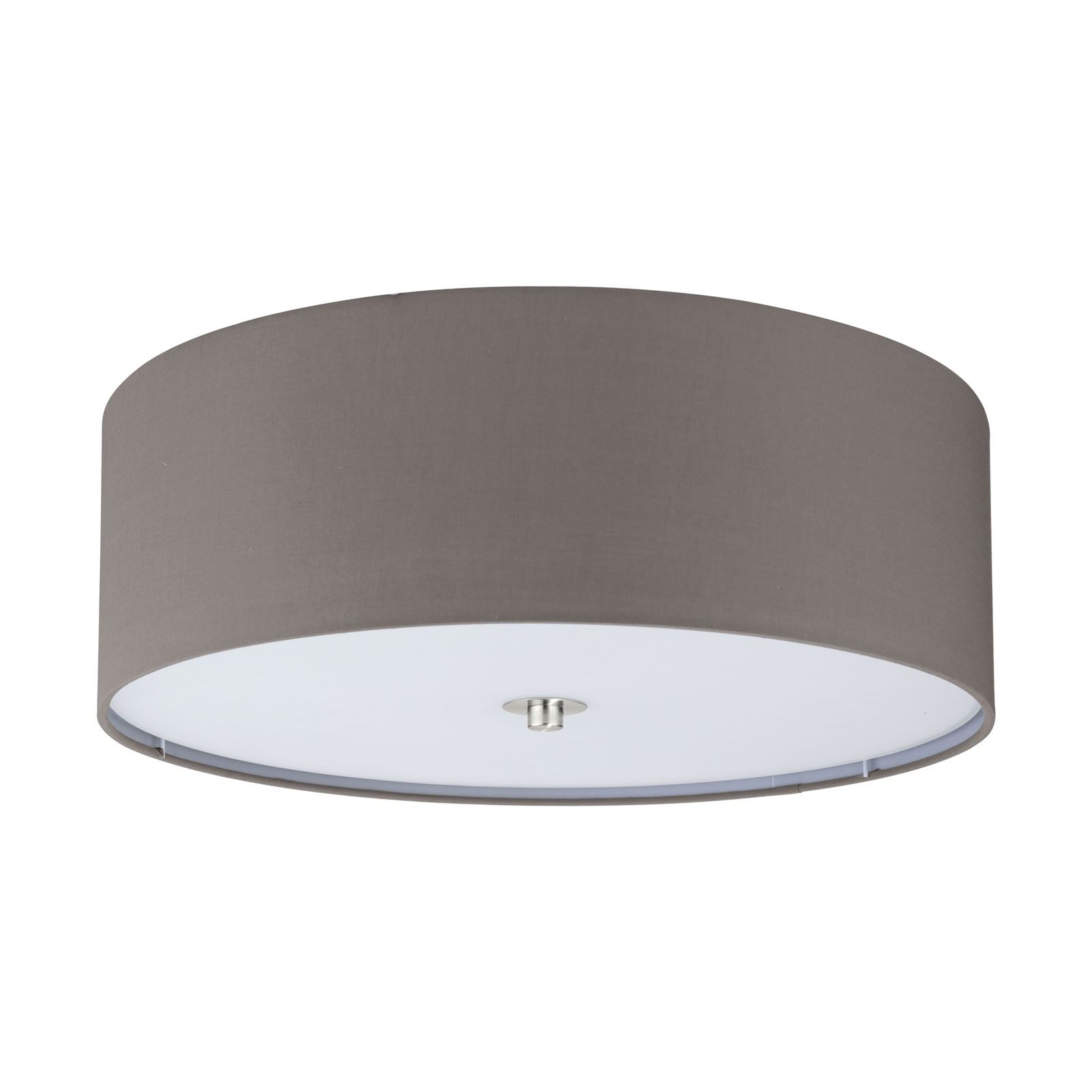 PASTERI Steel Ceiling 3 Light Satin Nickel Fabric Glass Anthracite Shade