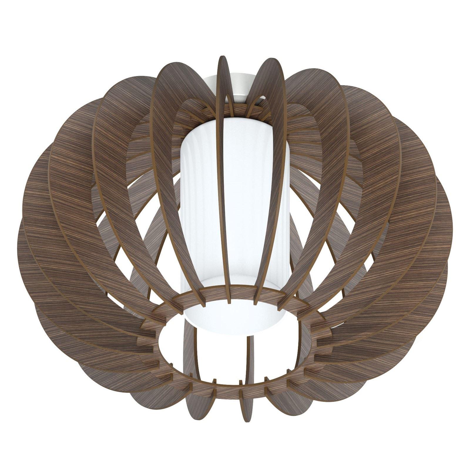 STELLATO 1 Light Ceiling Lighting White Glass Brown Wood Shade