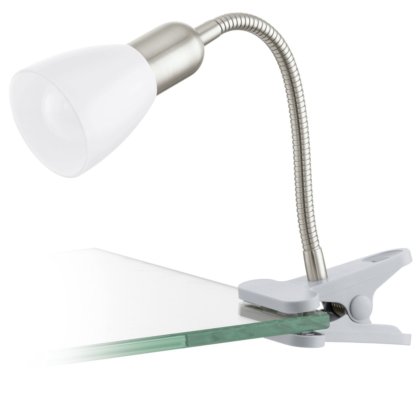 Dakar Clip-Lamp 1 Light Silver, Chrome White Shade