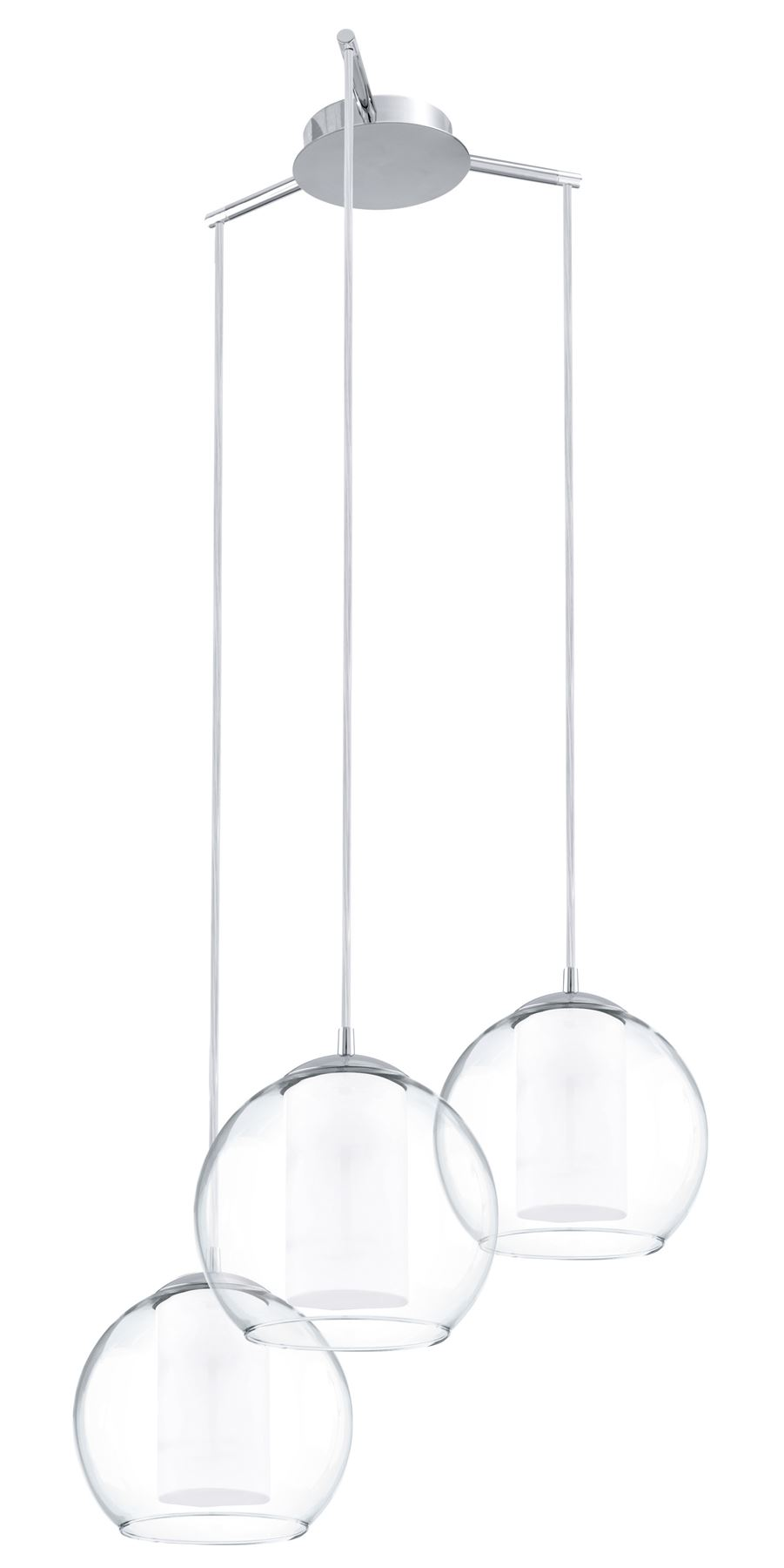 Bolsano Hanging Pendant 3 Lights E27 Steel Chrome White Clear