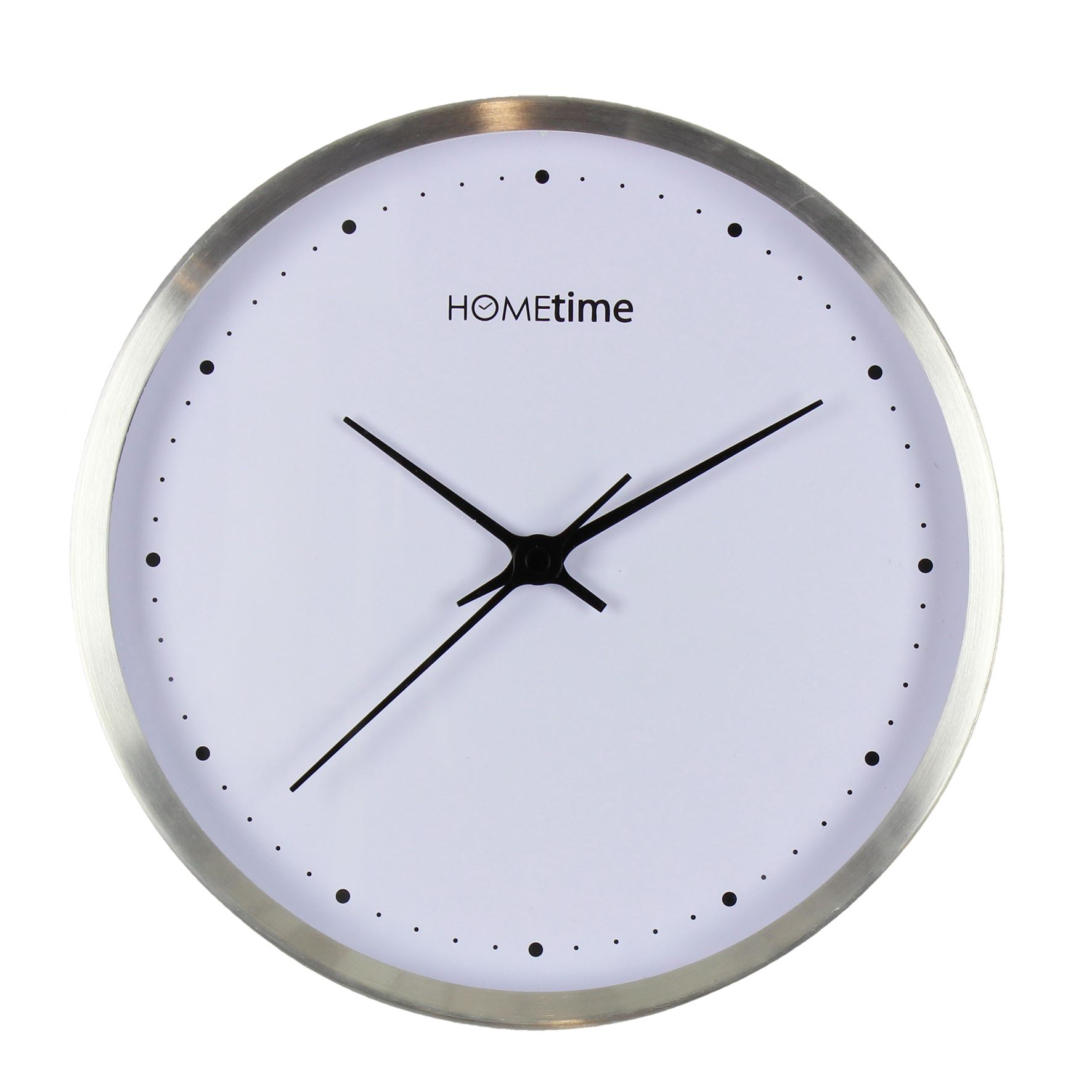 Hometime Aluminium Wall Clock Silver Finish 25cm