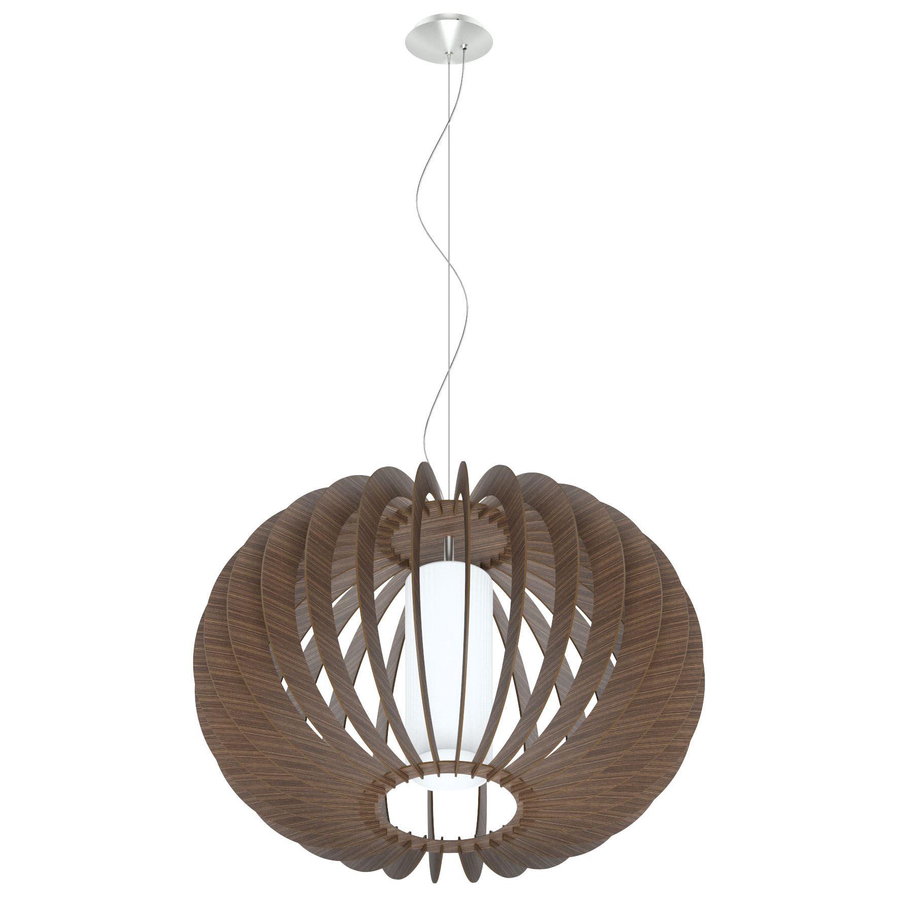 Stellato Steel Hanging Light Dia 700mm Wood Brown Glass White Shade