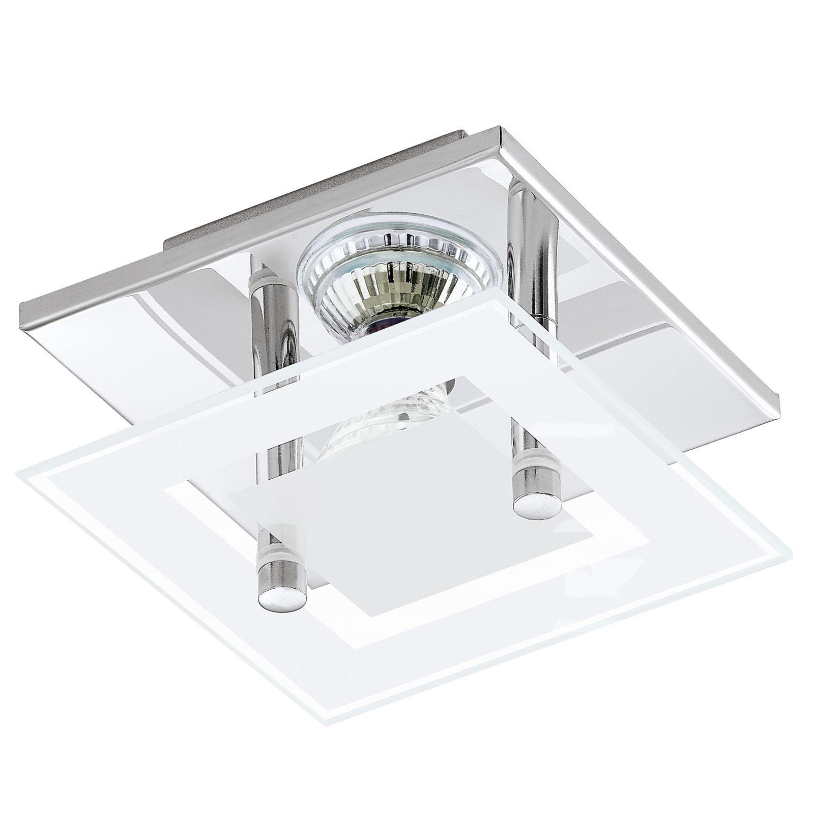 Almana Ceiling Semi Flush Light Steel Chrome White Clear