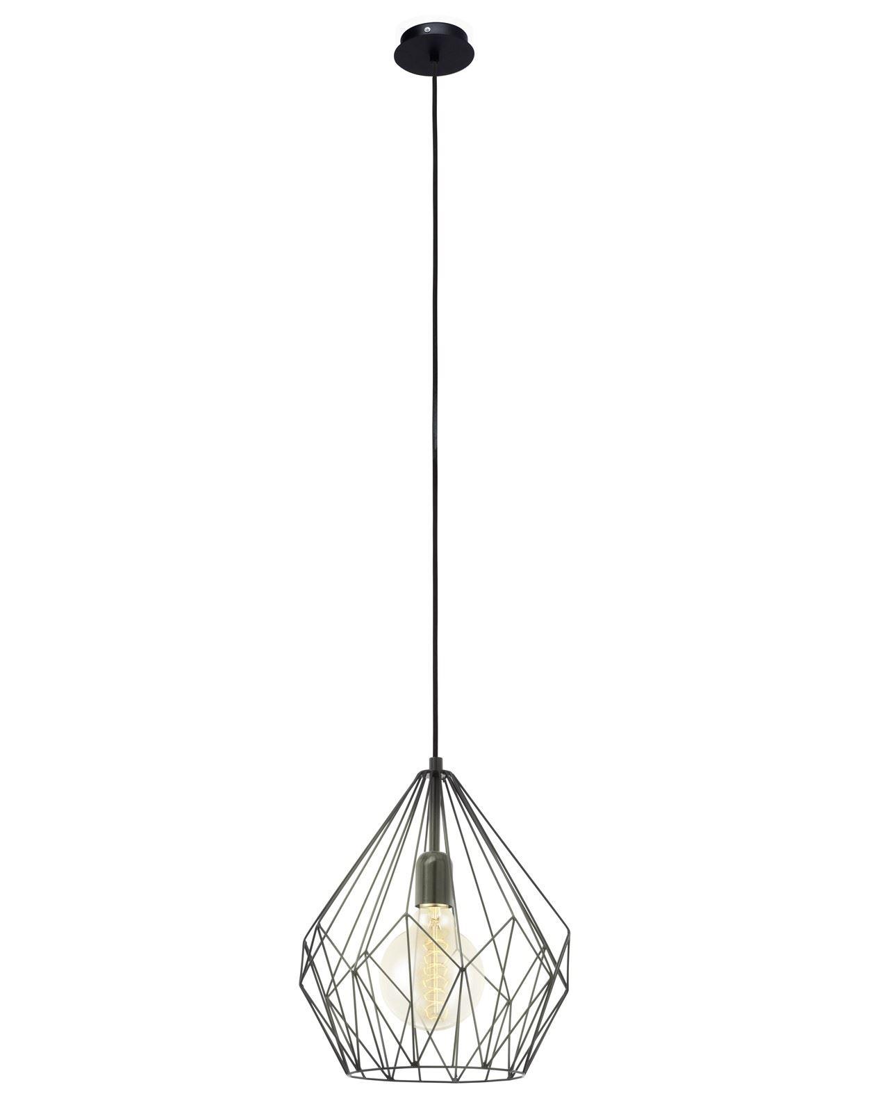 Carlton Stylish Steel Hanging Pendant Light E27 Black