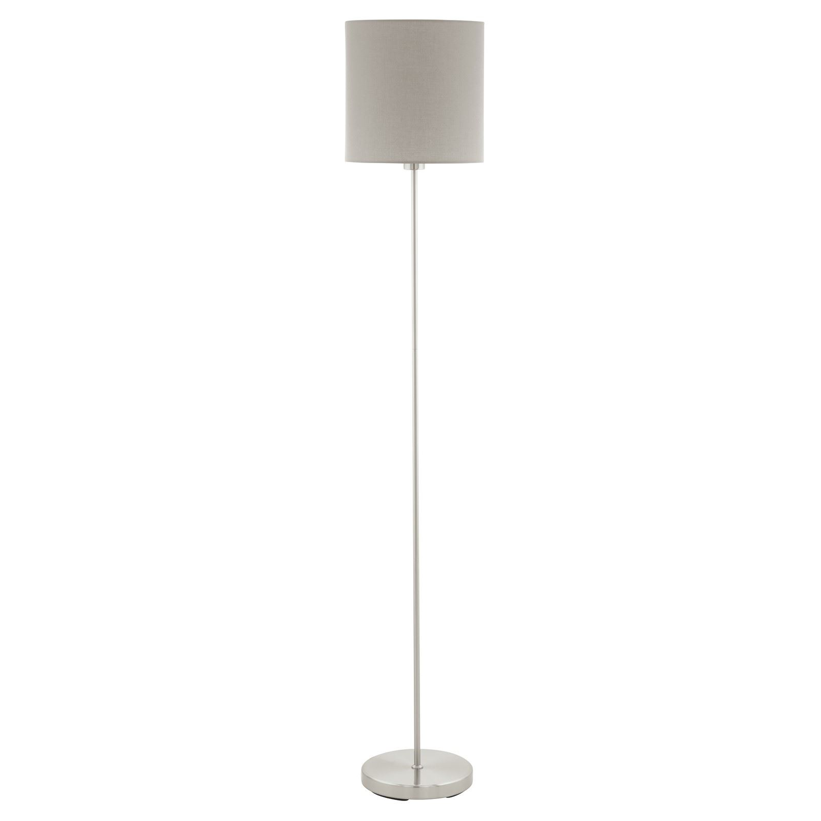 Pasteri Satin Nickel Floor Lamp Taupe Shade With Foot-Switch