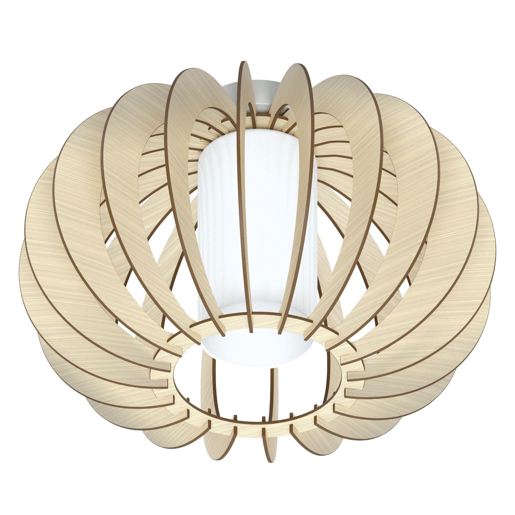 STELLATO Modern 1 Ceiling Light Maple Wood White Glass