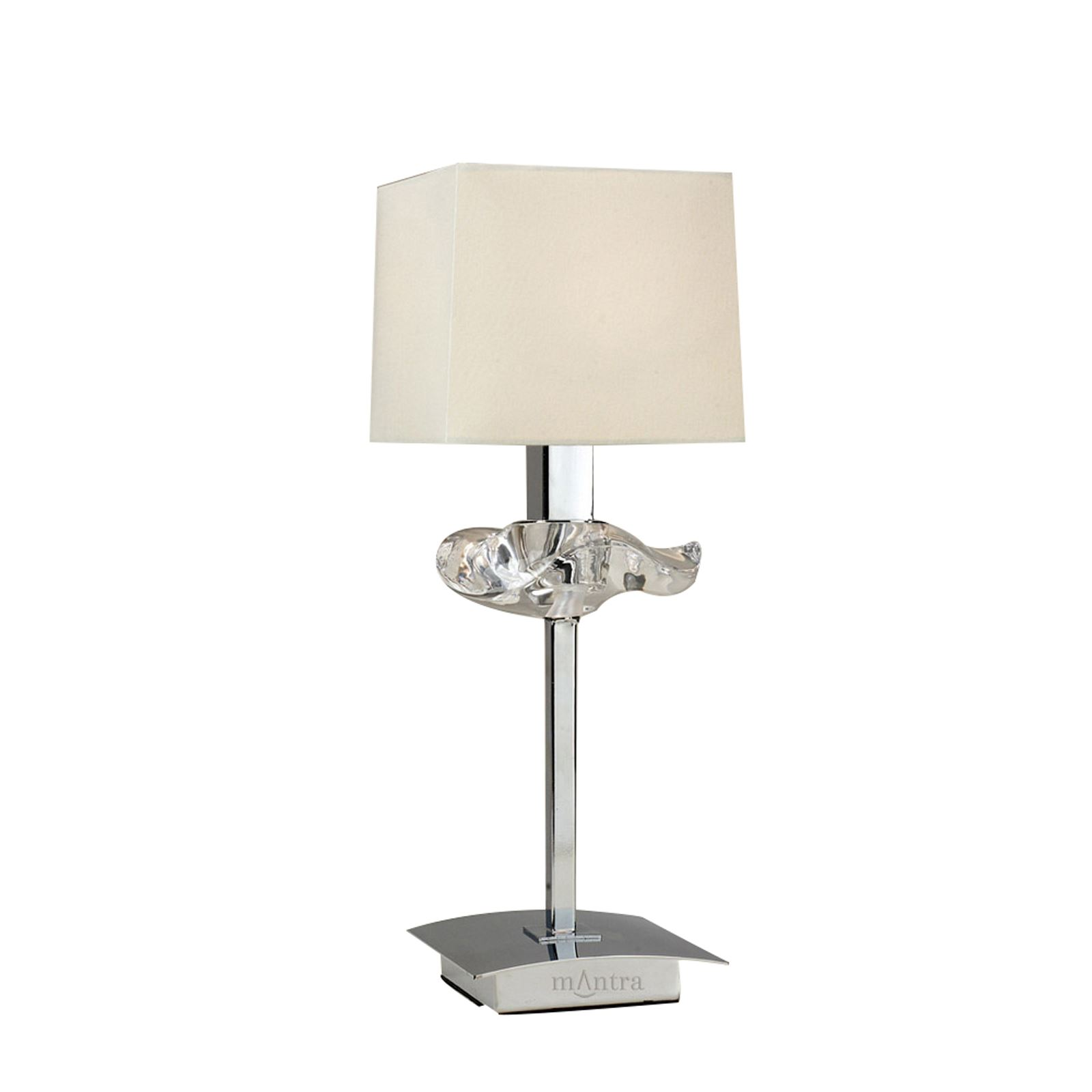 Polished Chrome 1 Light Table Lamp With Cream Shade & Clear Glass Detail
