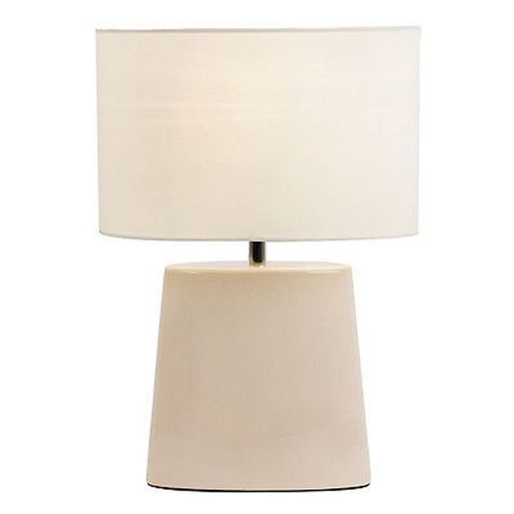 Iris Cream Crackle Glaze Cotton Mix Shade Ceramic Table Lamp