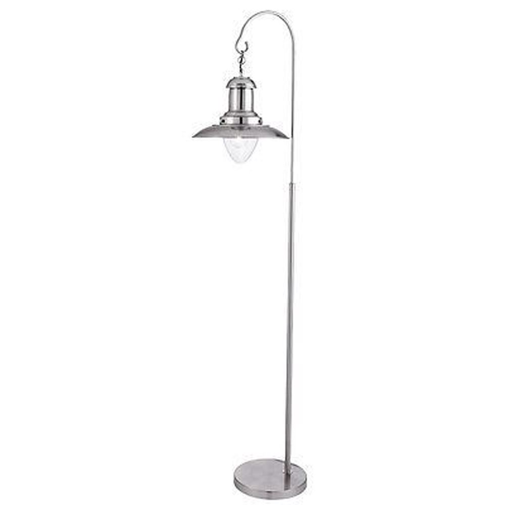 Fisherman Floor Lamp, Satin Silver, Clear Glass Shade