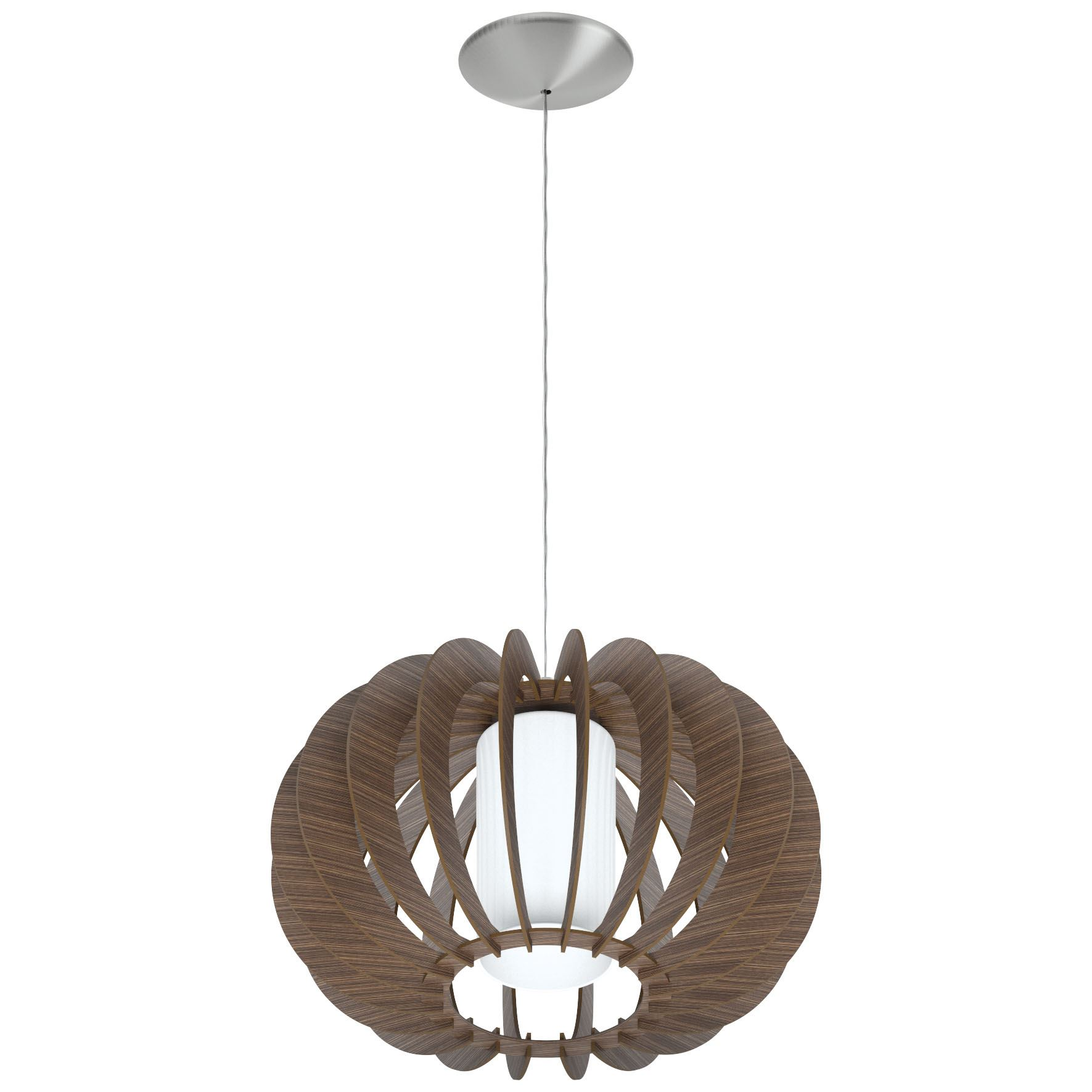 Stellato Steel Hanging Light Dia 400mm Wood Brown Glass White Shade