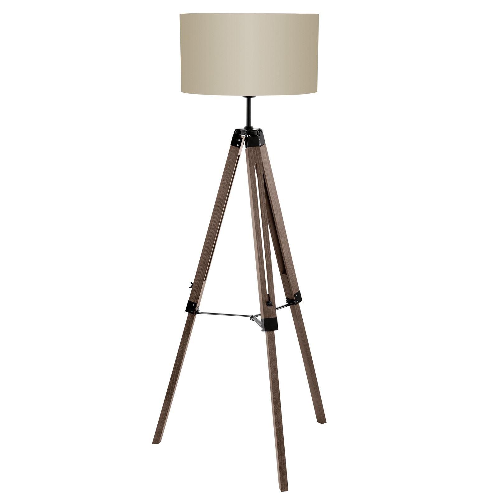 Lantada Floor Lamp Wood Steel 1 Light Fabric Taupe Shade