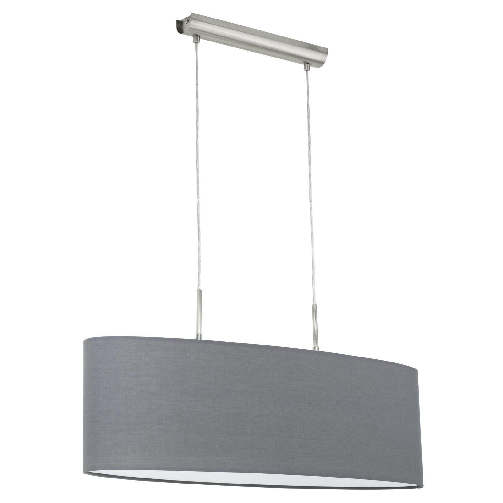Pasteri Steel Satin Nickel Hanging Light Fabric Matt Grey Shade
