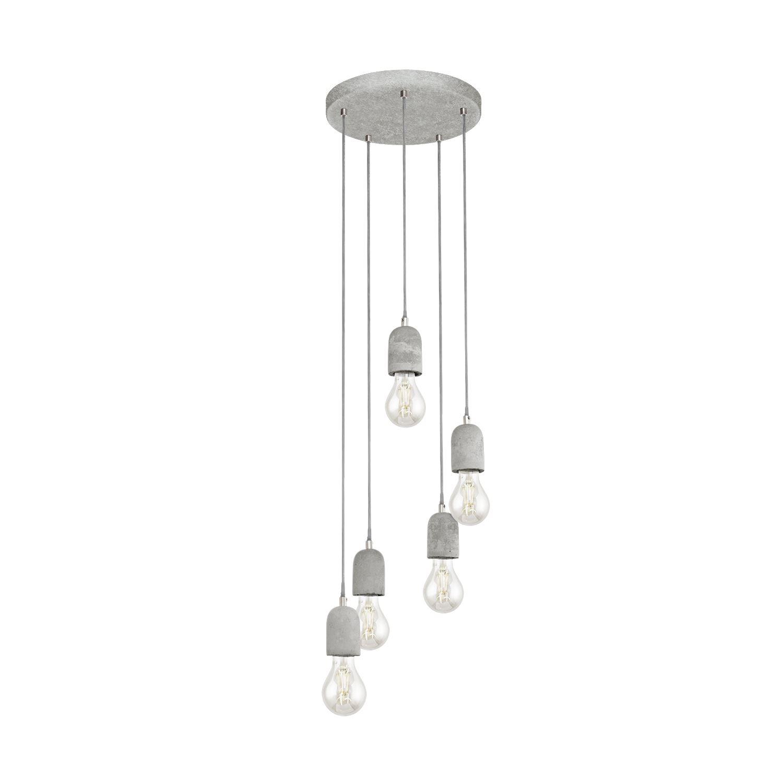Silvares Grey Pendant Steel Hanging 5 Lights E27 Concrete Shade