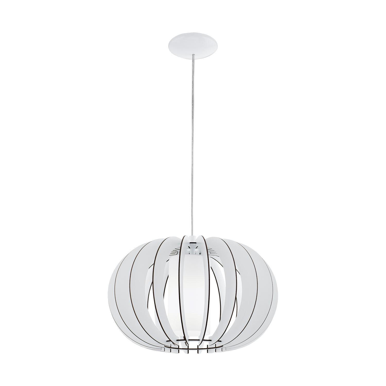 Stellato Steel Hanging Pendant 1 Light E27 Dia 400mm Wood Glass White Shade