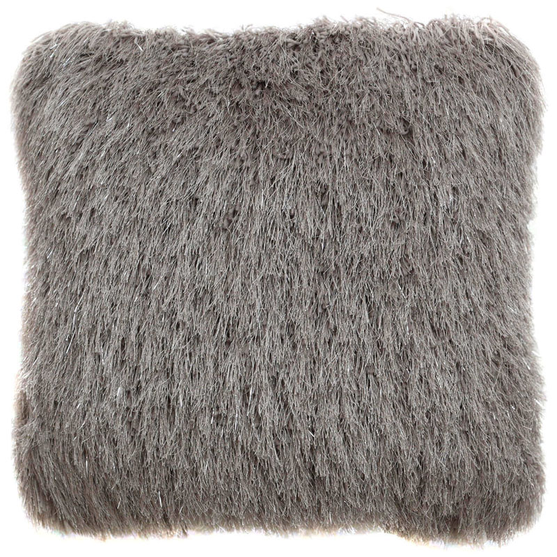 Filled Glittered Grey Shaggy Faux Fur Sofa Chair Bed Cushion 45 x 45cm