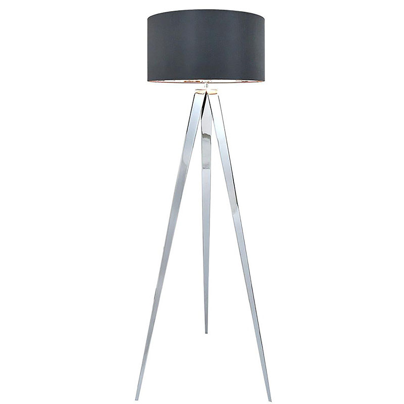 Chrome Hollywood Floor Lamp with 19 inch Grey faux silk cylinder Shade