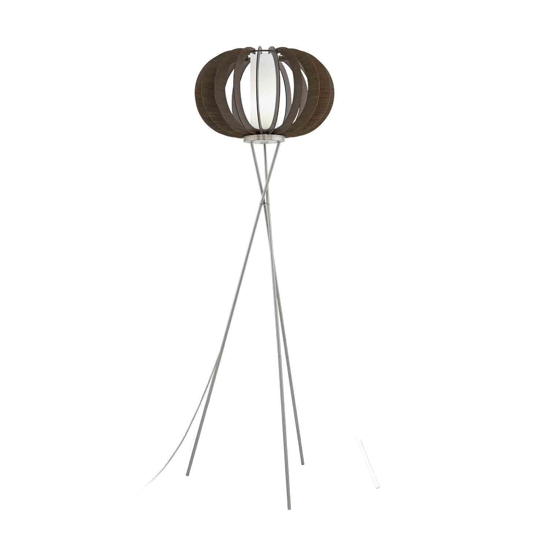 Stellato Steel Floor Lamp 1 Light Foot-Switch Glass Wood Shade