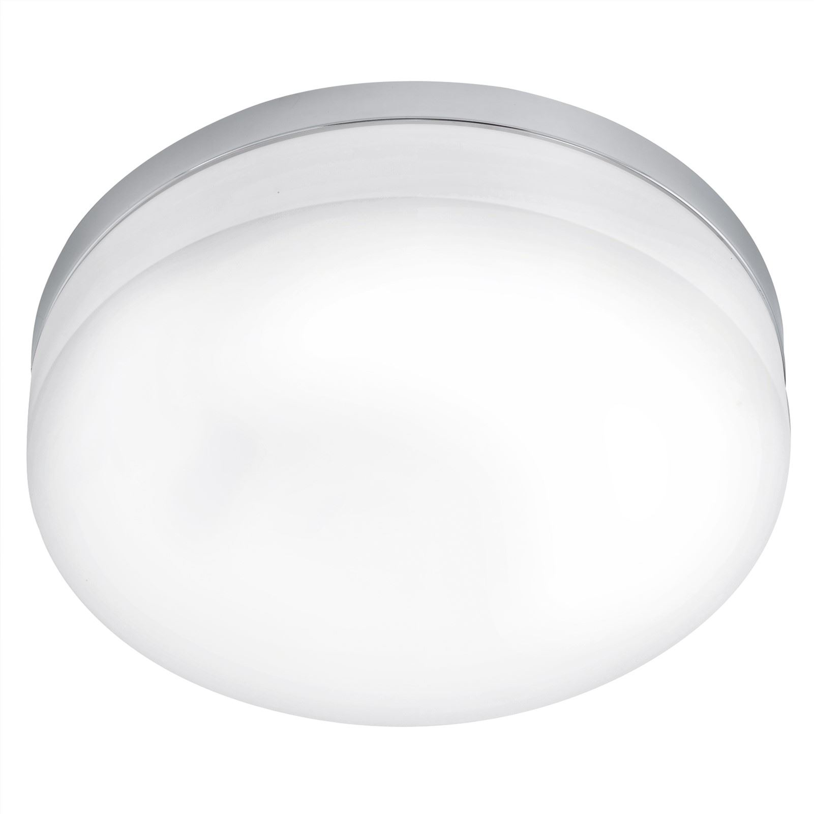 Lora LED Ceiling Light Diameter 420 mm Steel Chrome Opal Glass White Shade