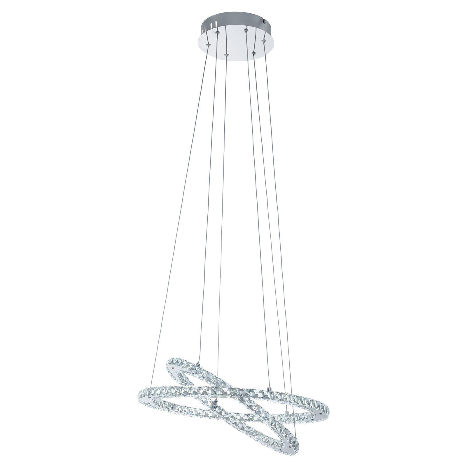 Varrazo Led-Hanging Light 2Xring, Chrome Crystal