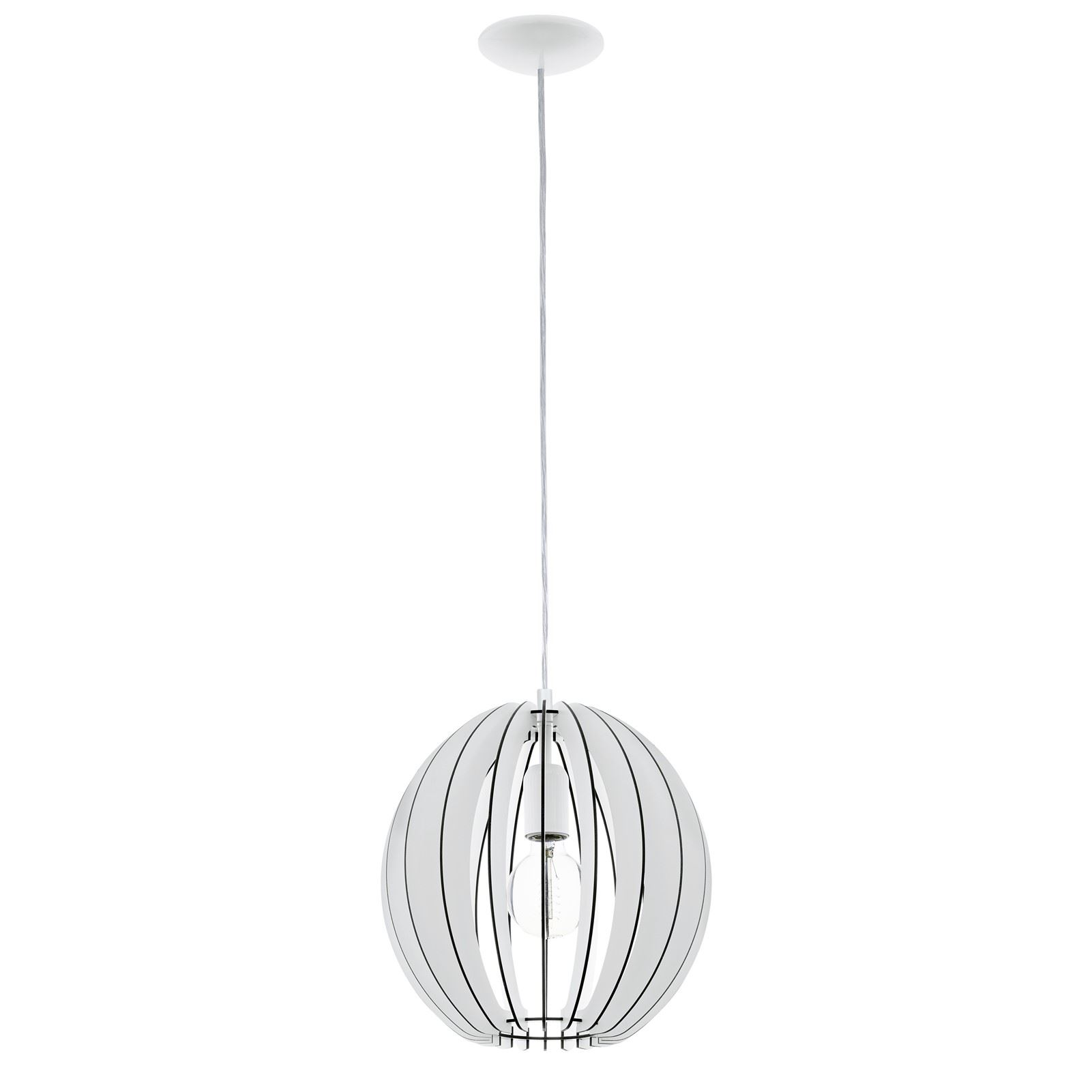 Cossano 1 Hanging Pendant Light E27 Dia 300mm Wood White Shade