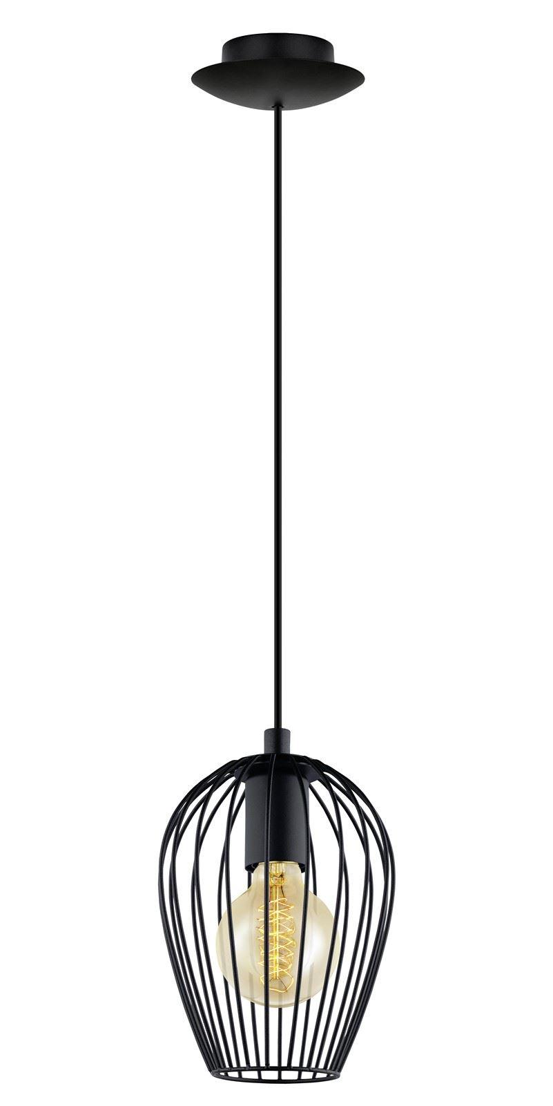 Newtown Steel Hanging Light 1 E27 Black Pendant Light