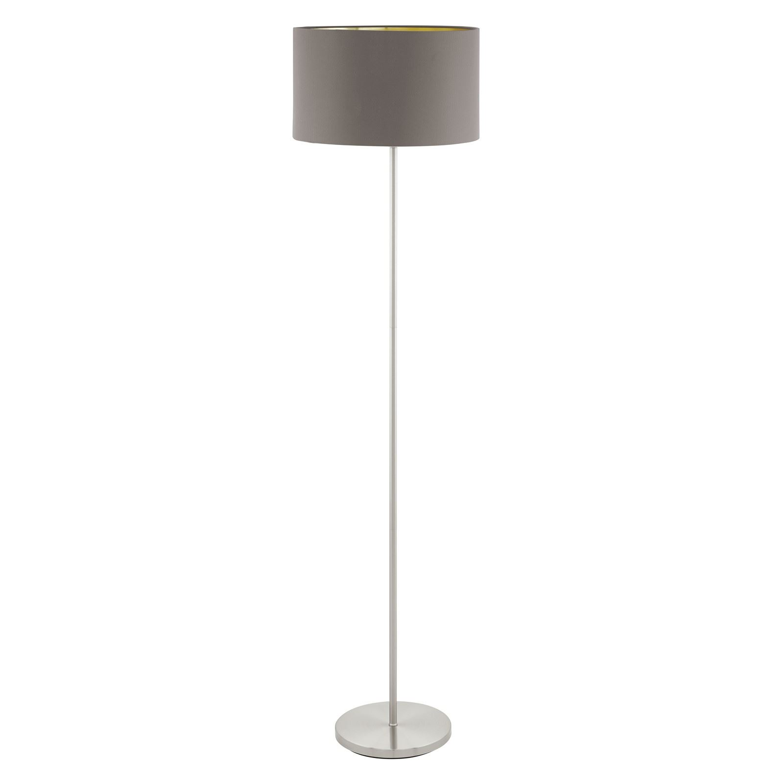 Maserlo Steel Satin Nickel Floor Lamp 1 Light With Cappuccino-Gold Shade
