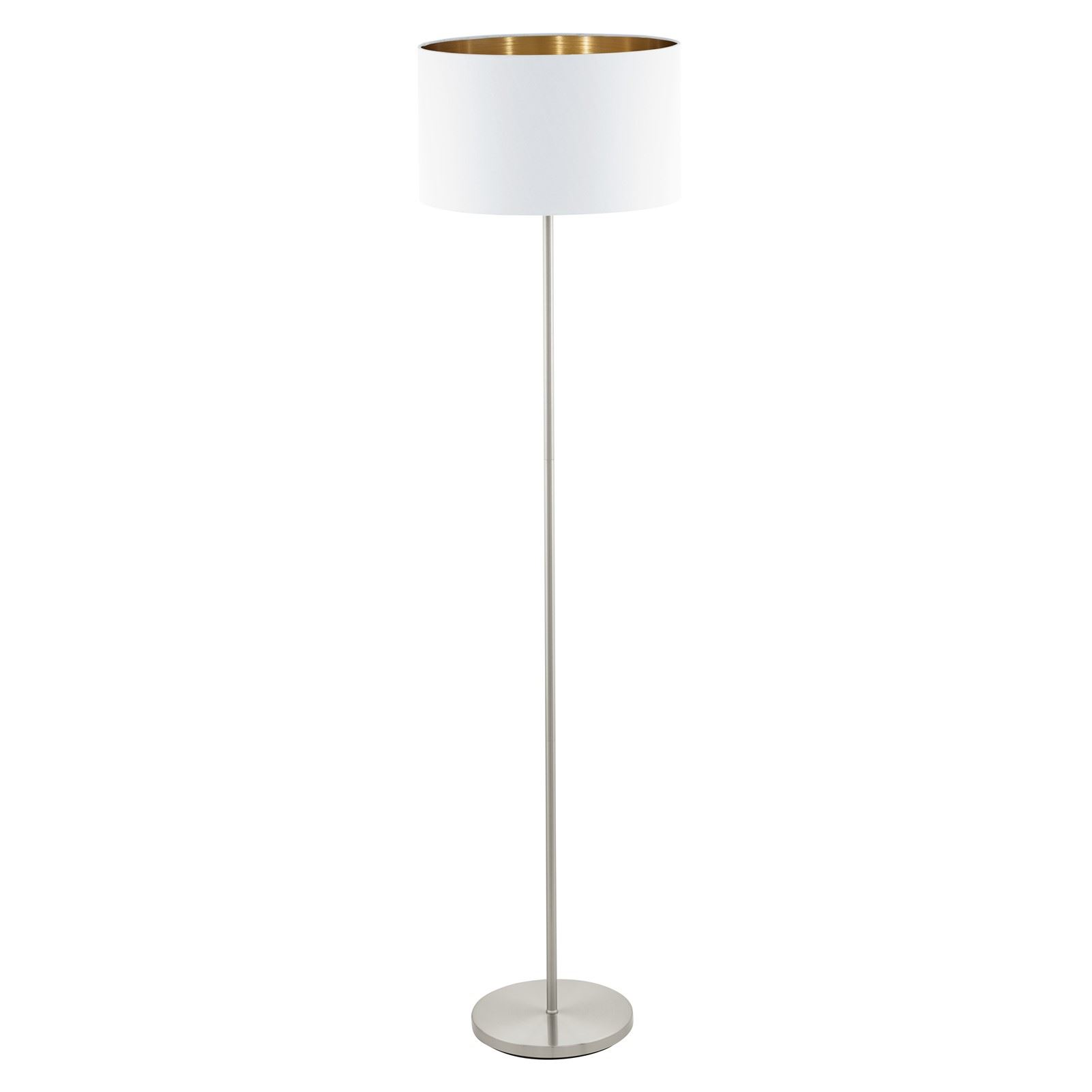 Pasteri Satin Nickel Floor Lamp With White Copper Shade Foot-Switch