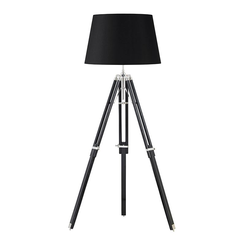 Tripod Base Floor Lamp - Dark Wood