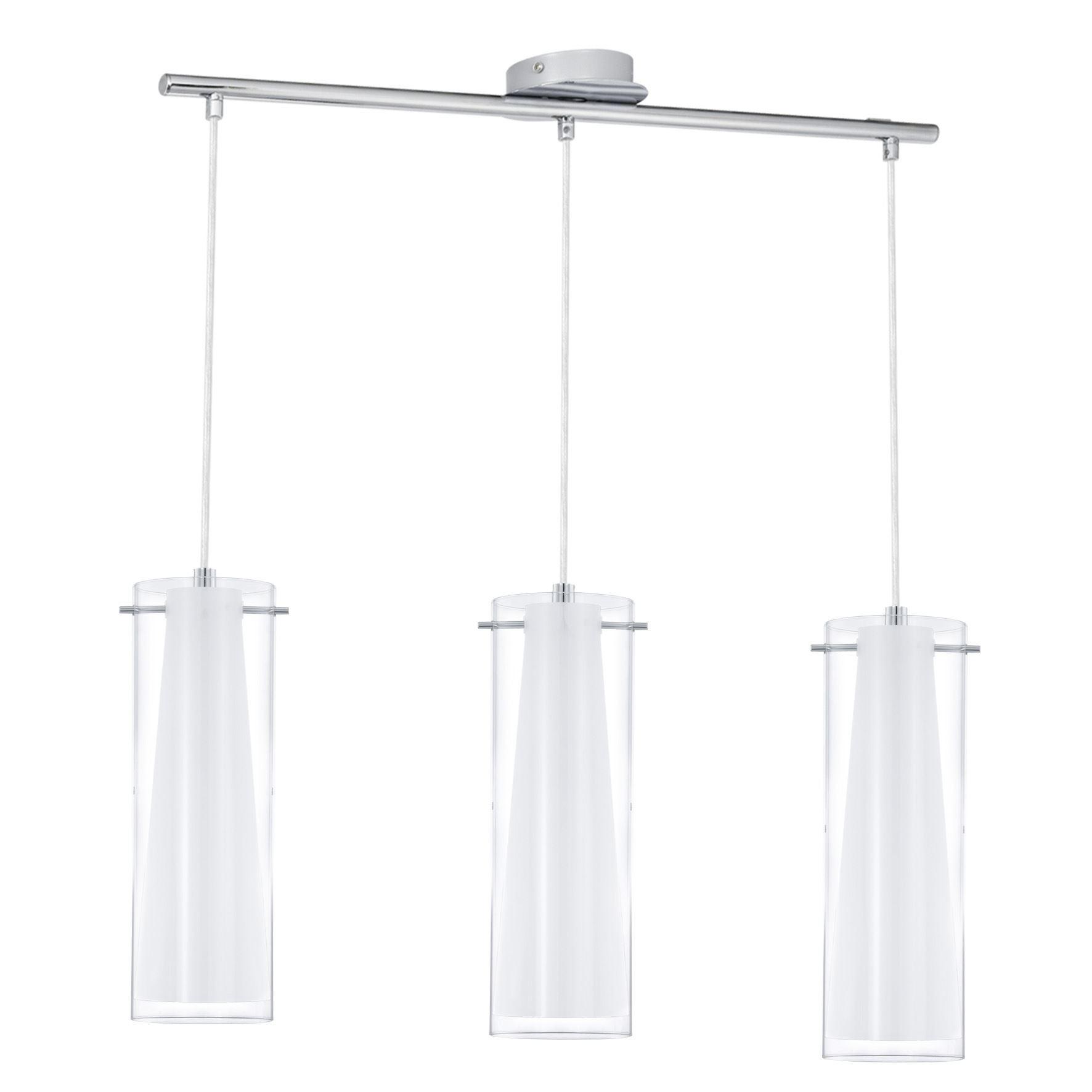 Pendant Lamp Pinto 3 Lights E27 Height 1100 mm Chrome And Glass