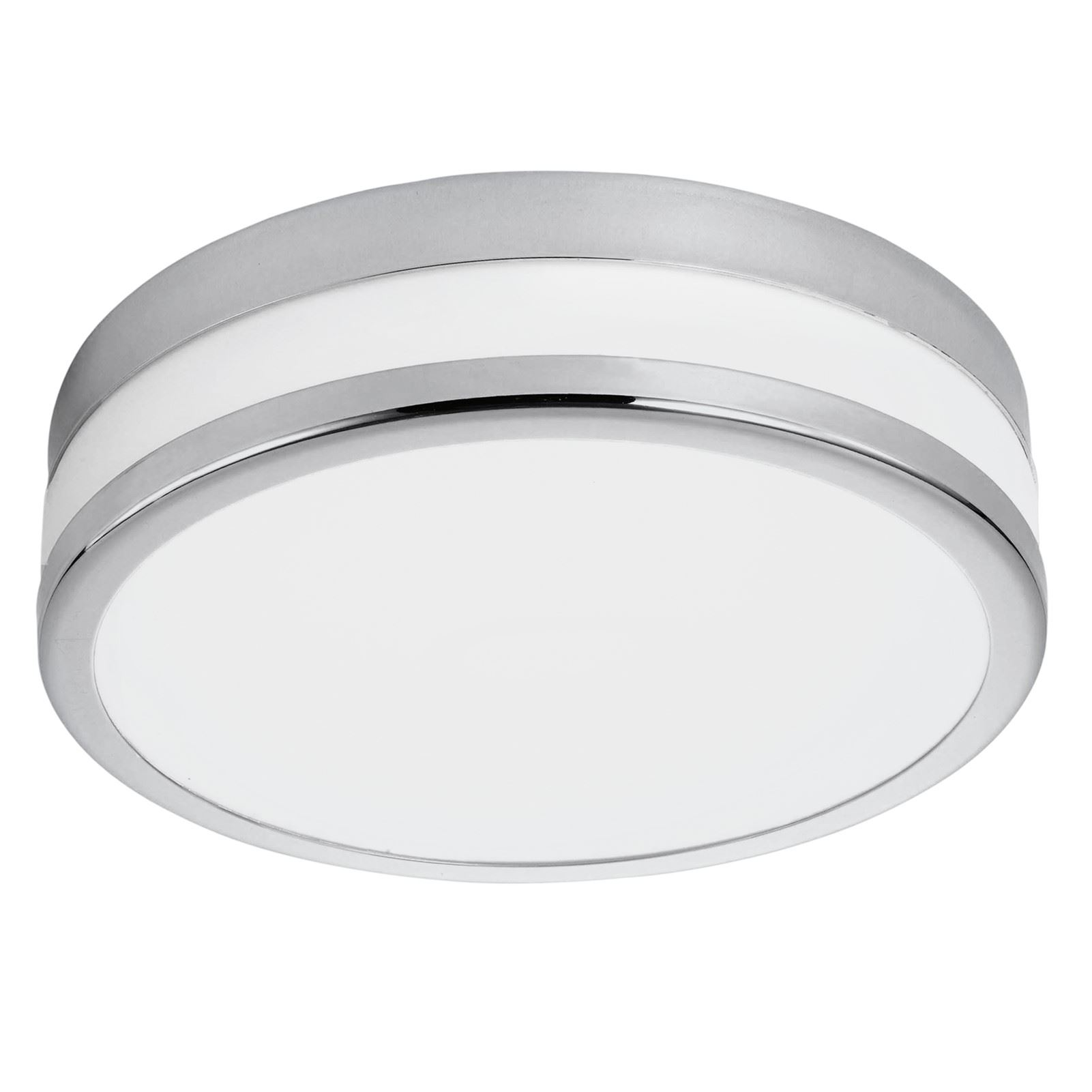 Palermo LED Ceiling Light Steel Chrome Coated White Shade Dia 295 mm