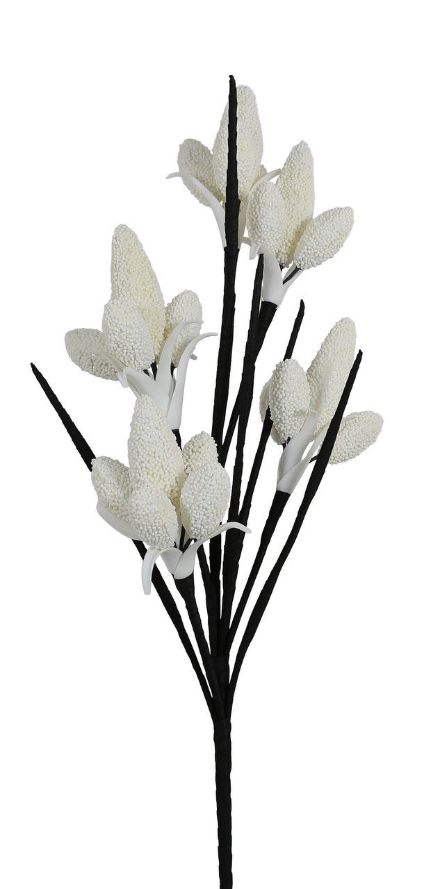 White Foam Single Black Stem Bud Branch Flower realistic impression 117cm