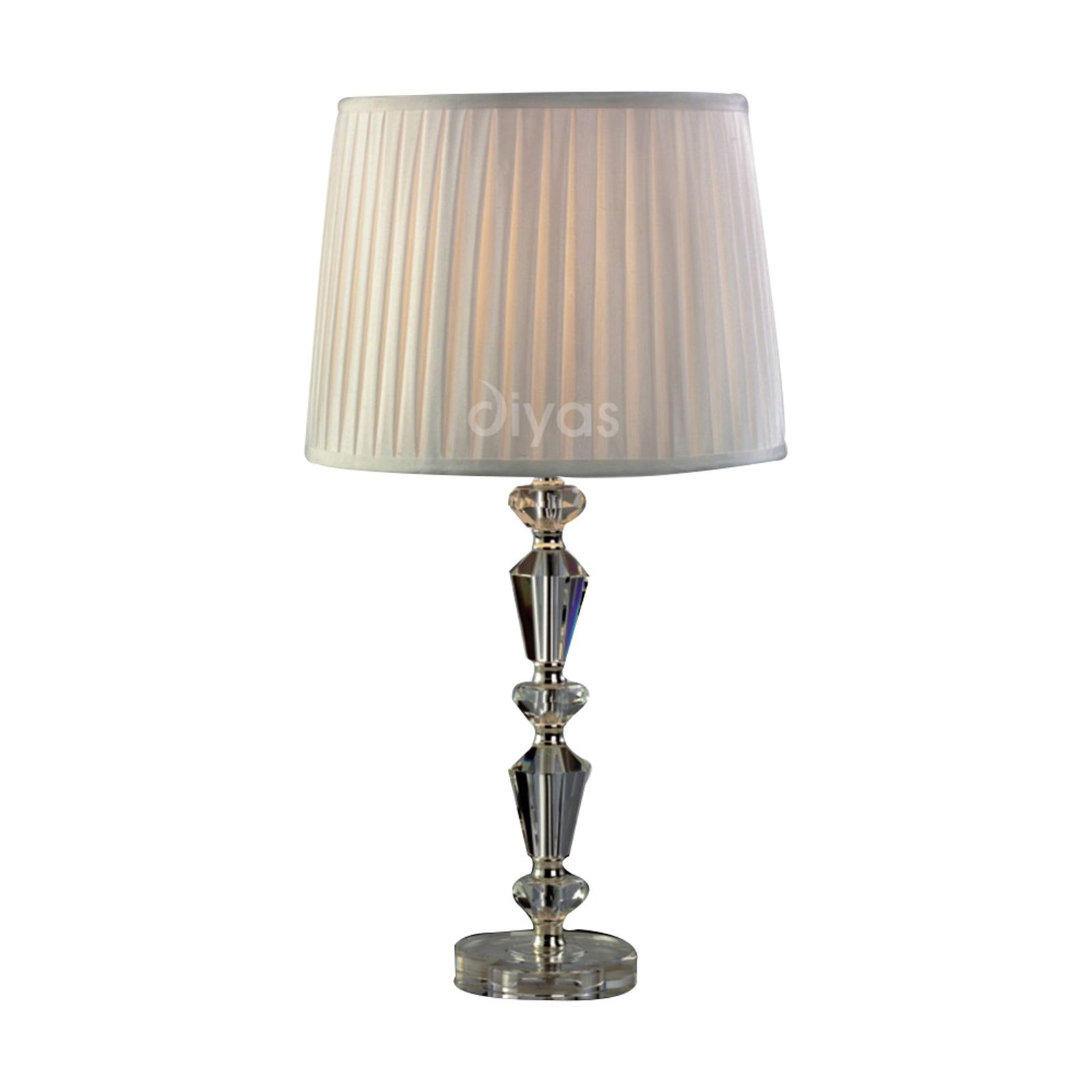 Contemporary 1 Light Crystal Table Lamp Without Shade Silver Finish