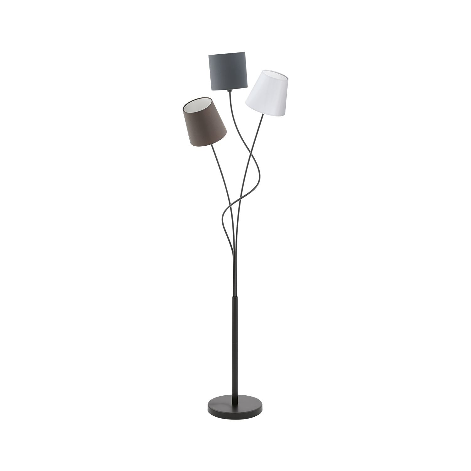 Maronda Floor Lamp Steel 3 Light Black Anthracite White Brown