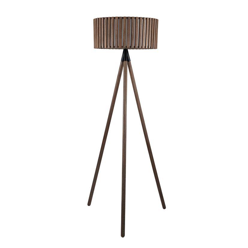 Antique Wood Slat Tripod Floor Lamp Complete