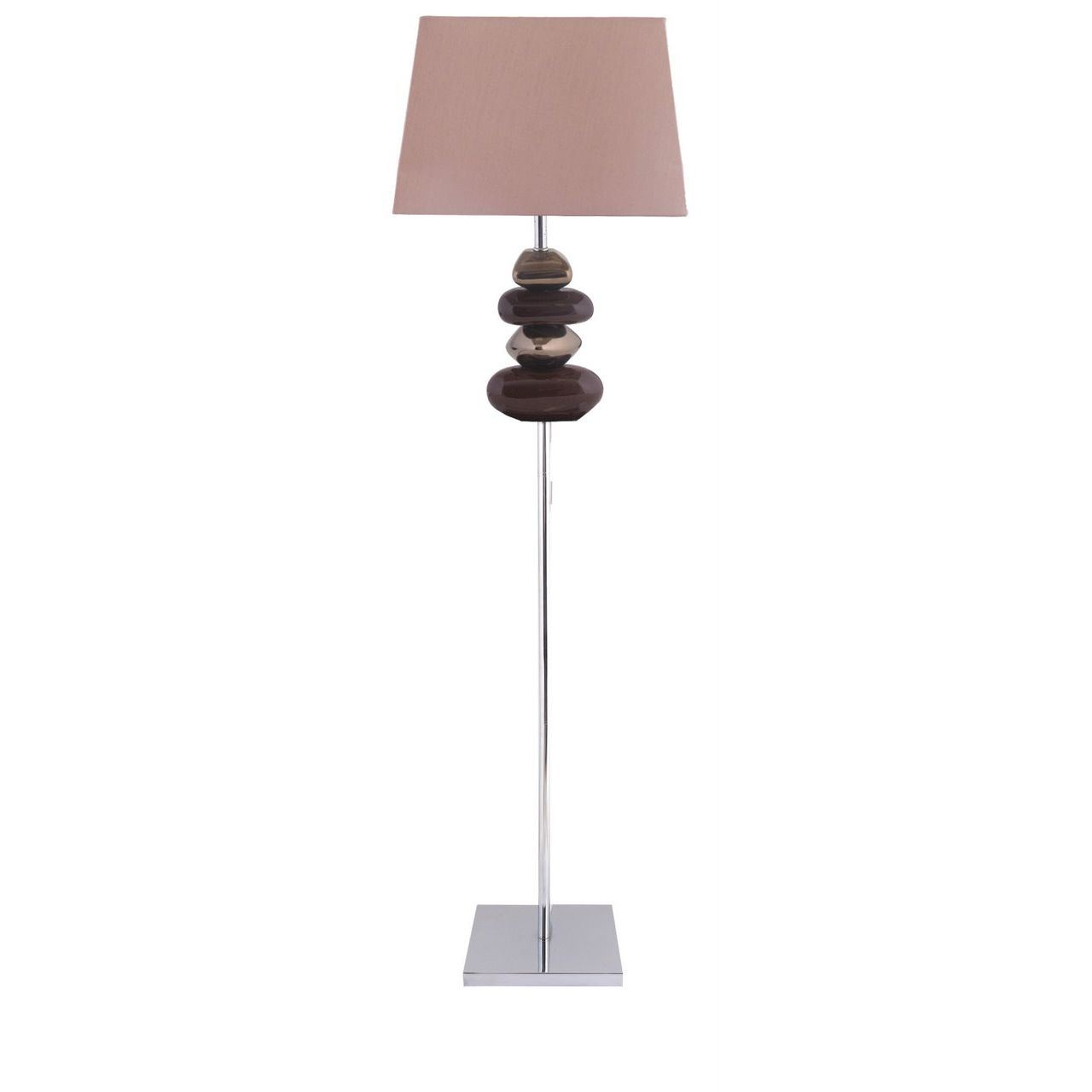 Chocolate And Bronze Pebble Floor Lamp With 17 Inch Chocolate Shade