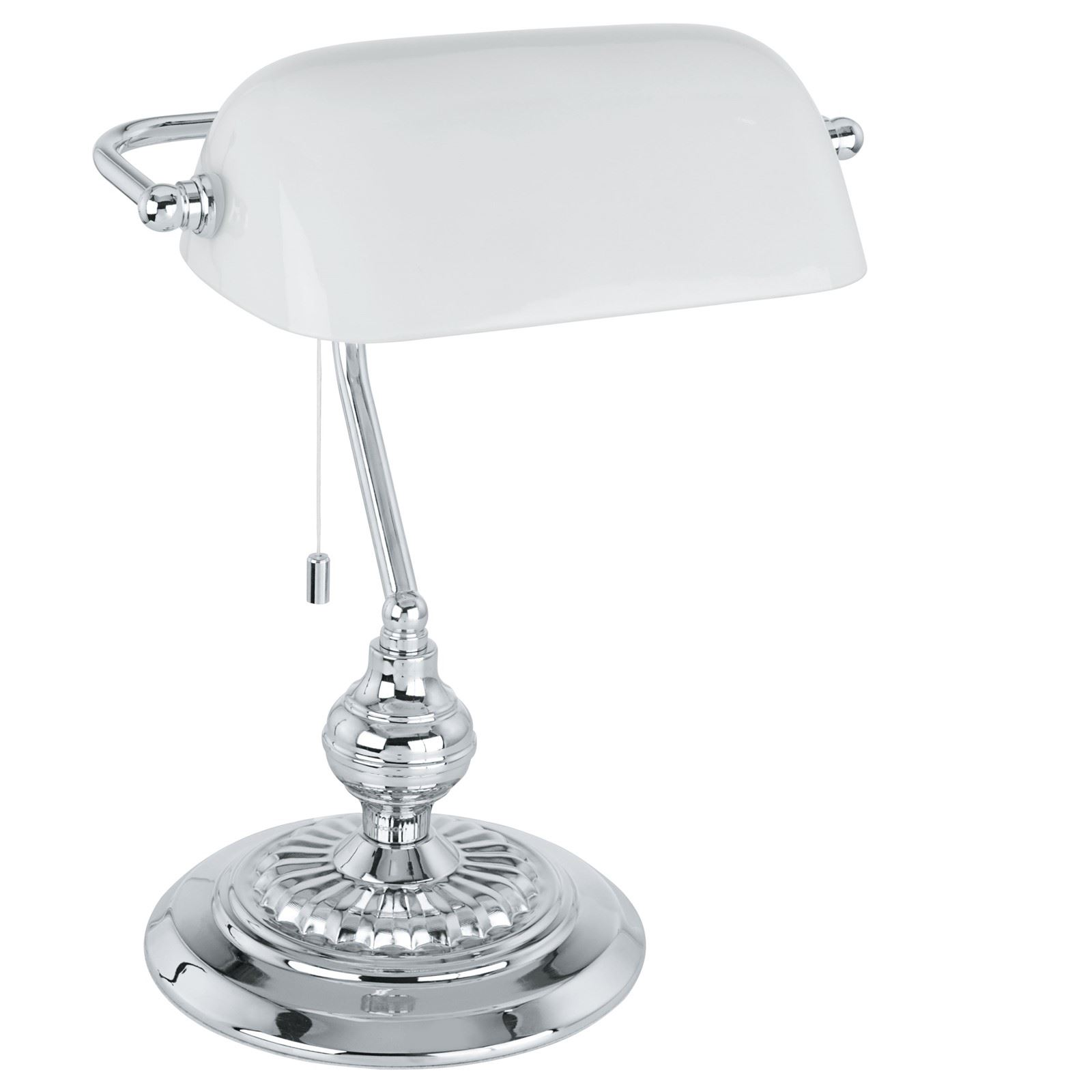 Banker Table Lamp 1 Chrome With Glass White Shade