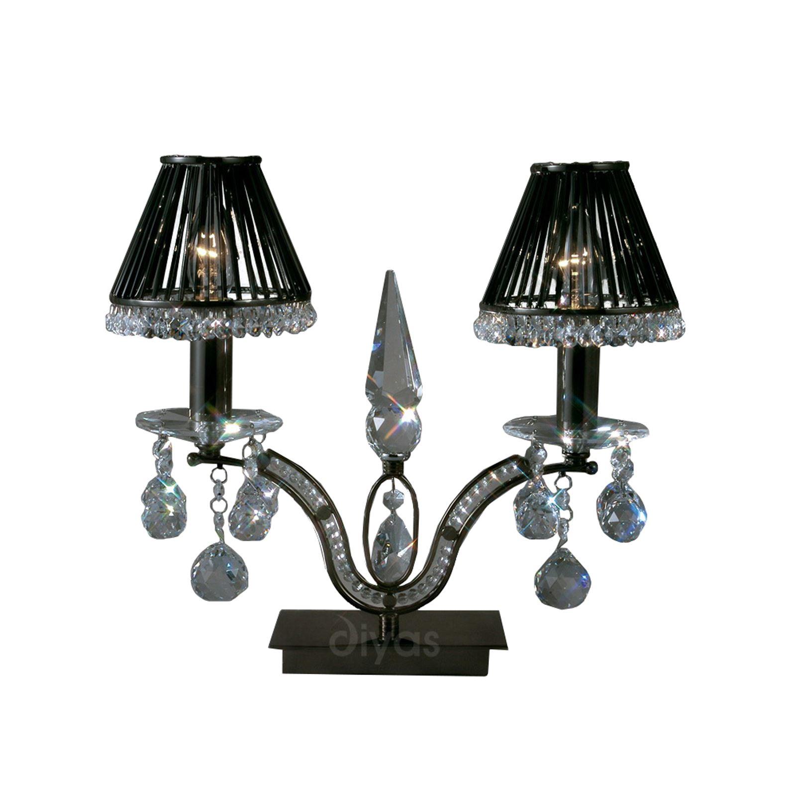 Modern Stylish Table Lamp 2 Light Black Chrome/Crystal - High Quality