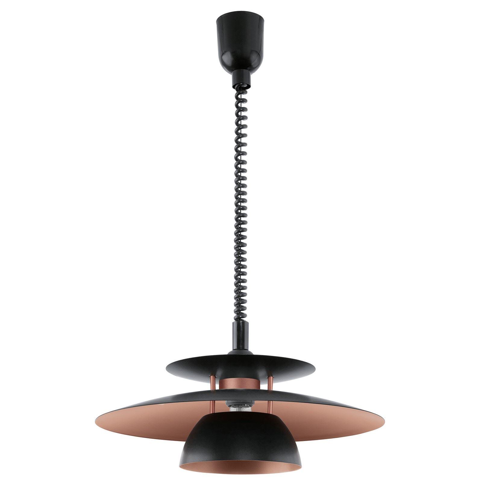 Brenda Hanging Light 1 Light E27 Adjustable Height Black Copper