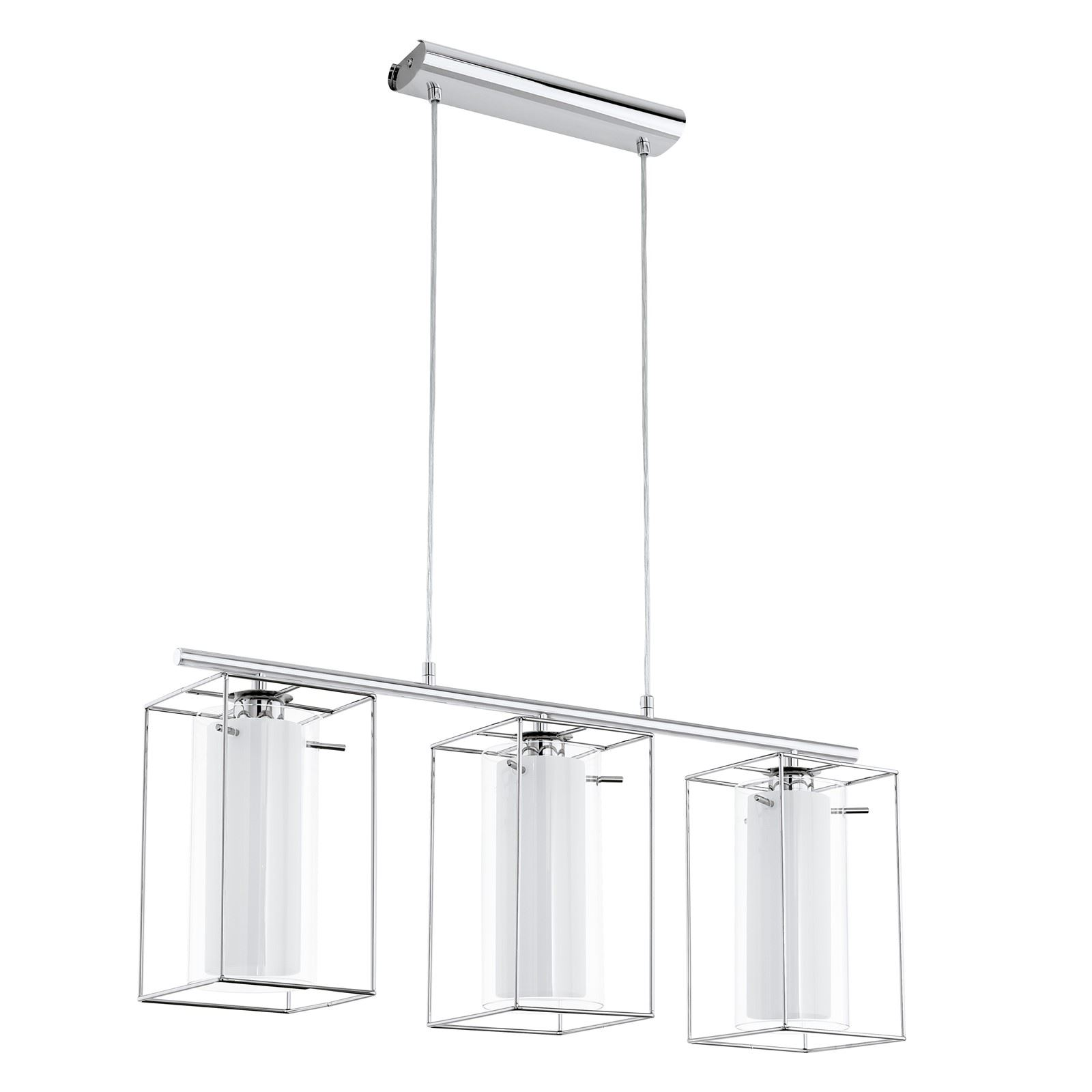Loncino Pendant 3 Lights E27 Steel Chrome Clear White