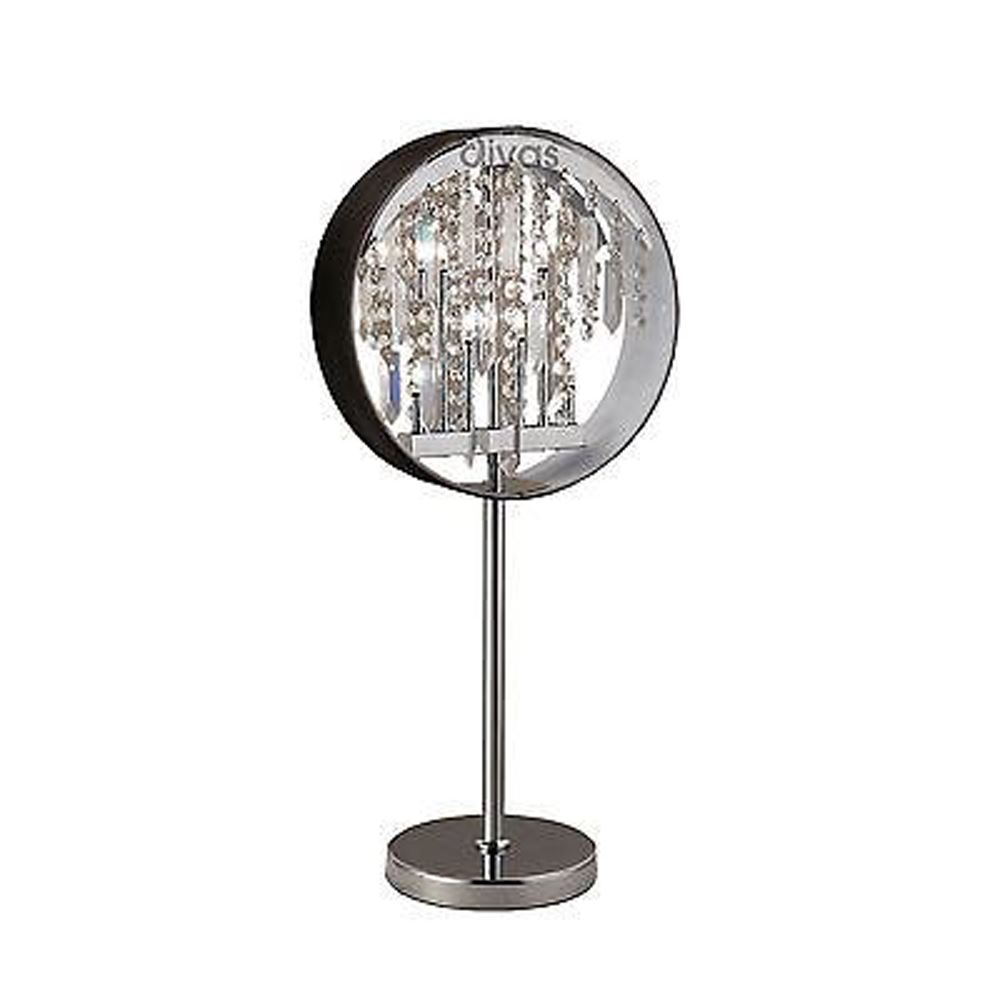 Modern Table Lamp With Black Shade 7 Light Crystal - Unique Design