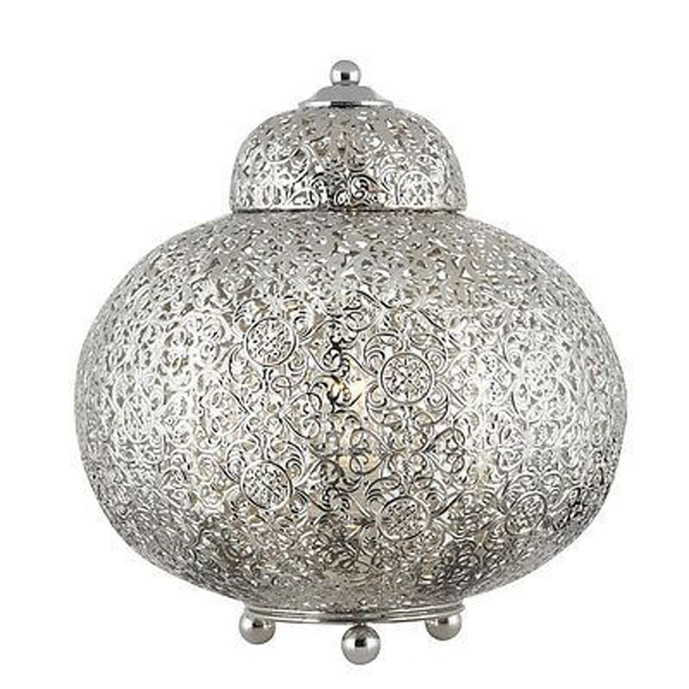 Moroccan Stylish Table Lamp & Shiney Nickel Patterned Finish