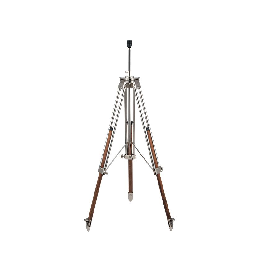 Nickel & Wood Tripod Floor Lamp