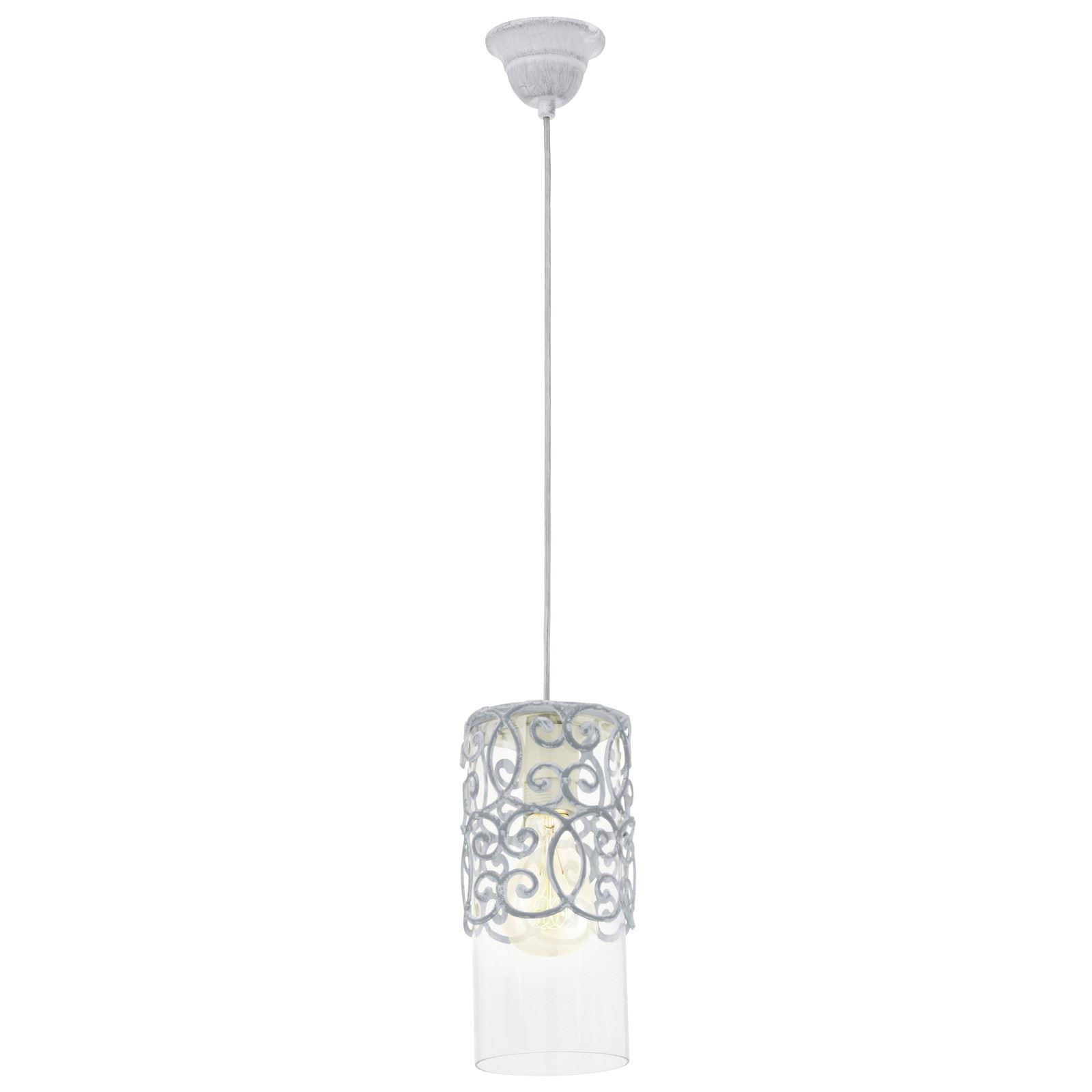 Cardigan 1 Hanging Light E27 Steel Grey Blue Clear Glass Shade