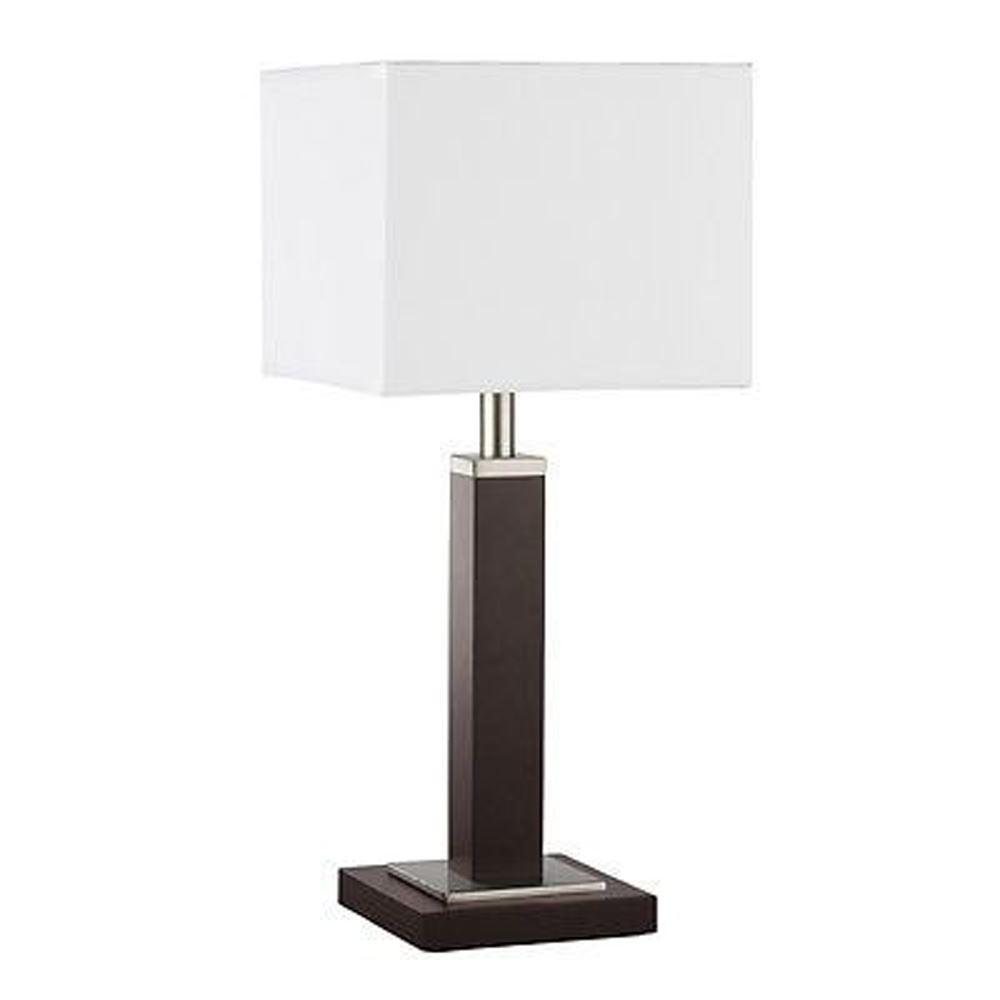 Waverley Table & Floor Lamp 1 Light Brown Wood Satin Silver Rectangular